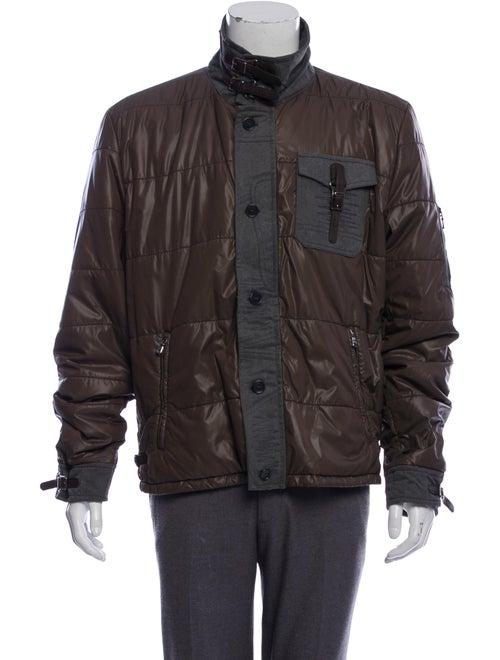 Dolce & Gabbana Leather-Trimmed Puffer Jacket oliv