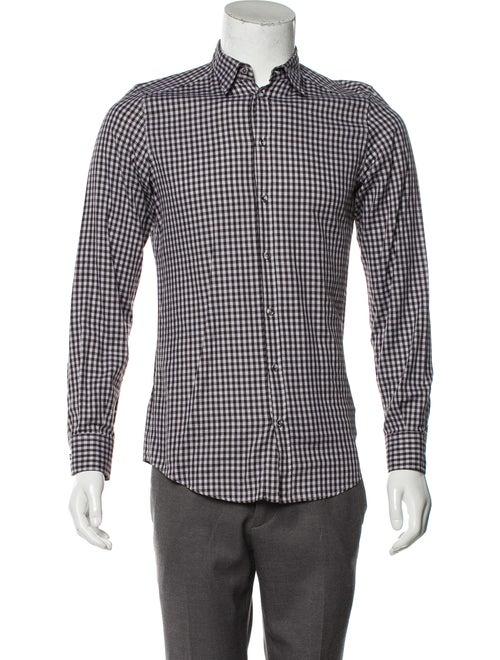 Dolce & Gabbana Checkered Button-Up Shirt plum