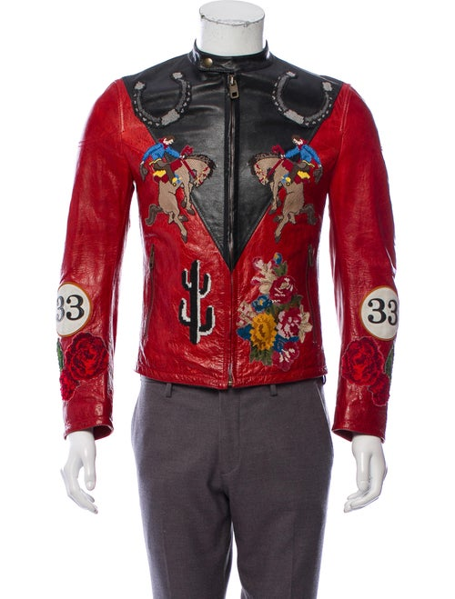 Dolce & Gabbana Leather Racing Jacket red