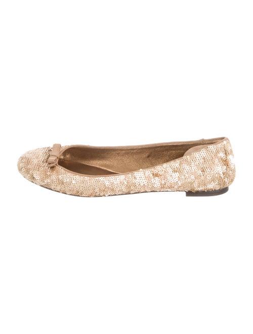 Dolce & Gabbana Sequin Ballet Flats Gold