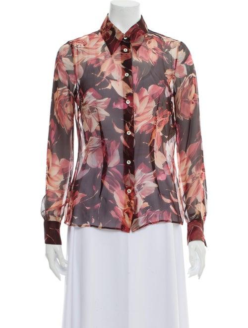 Dolce & Gabbana Silk Floral Print Button-Up Top Pu