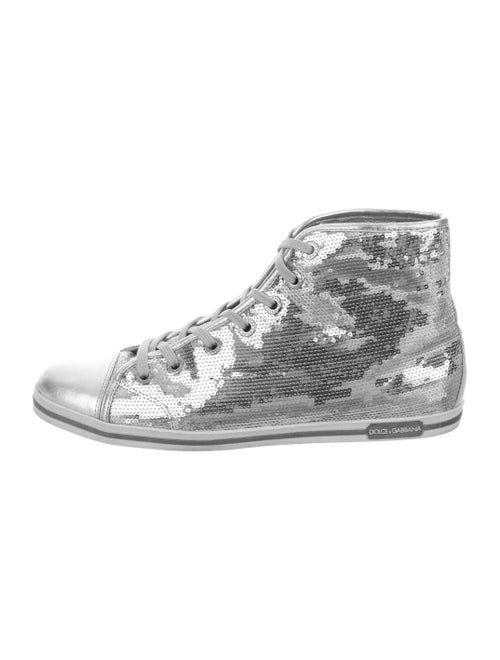 Dolce & Gabbana Sequins High-Top Sneakers Silver
