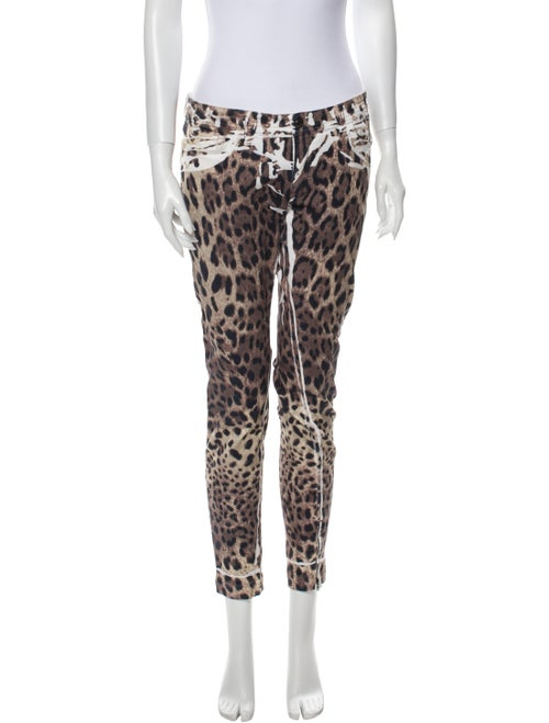 Dolce & Gabbana Animal Print Skinny Leg Pants Brow
