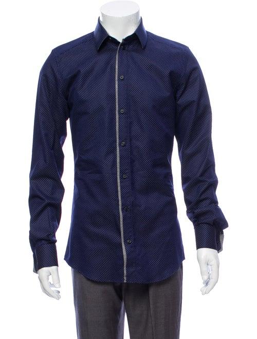 Dolce & Gabbana Polka Dot Jacquard Shirt navy
