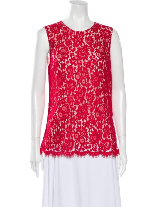 Dolce & Gabbana Lace Pattern Crew Neck Blouse Red