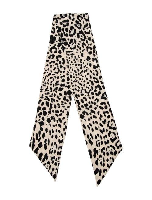 Dolce & Gabbana Cheetah Knit Scarf Beige