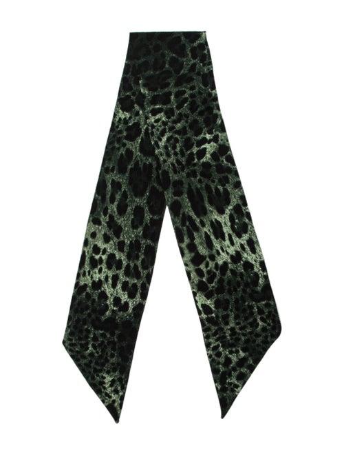 Dolce & Gabbana Leopard Knit Scarf green