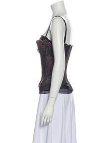 Dolce & Gabbana Lace Pattern Square Neckline Top