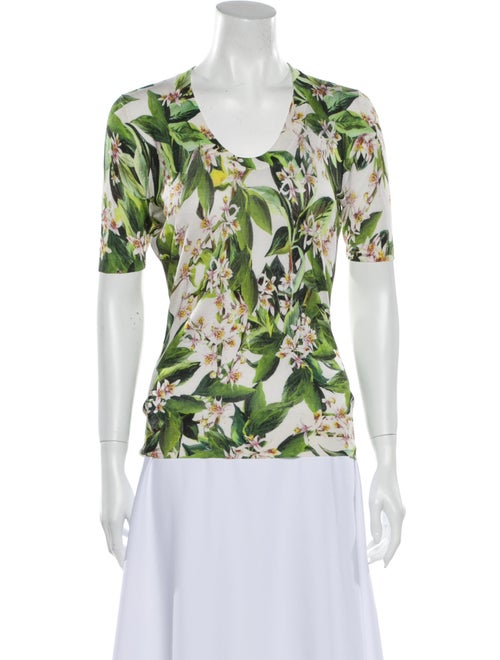 Dolce & Gabbana Silk Floral Print T-Shirt Green