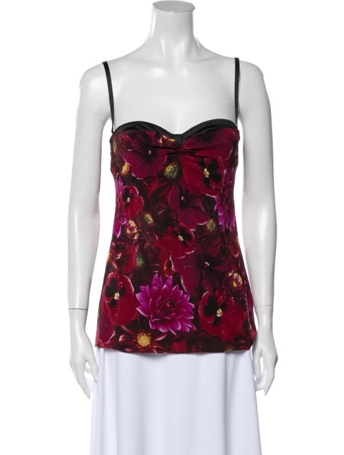 Dolce & Gabbana Silk Floral Print Top Red