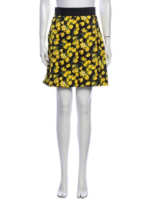 Dolce & Gabbana Printed Mini Skirt Black