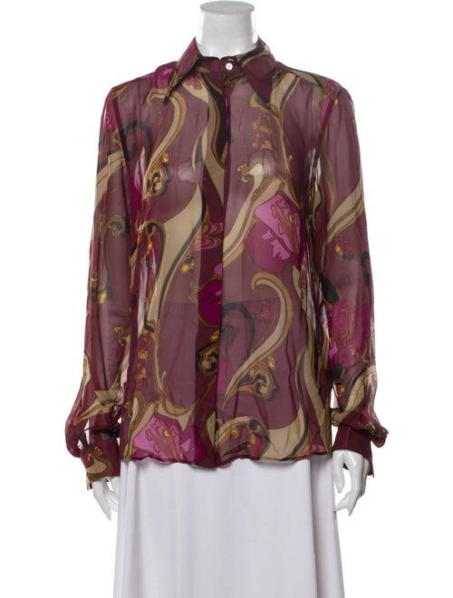 Dolce & Gabbana Silk Printed Button-Up Top Purple