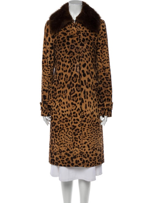 Dolce & Gabbana Animal Print Fur Coat Brown