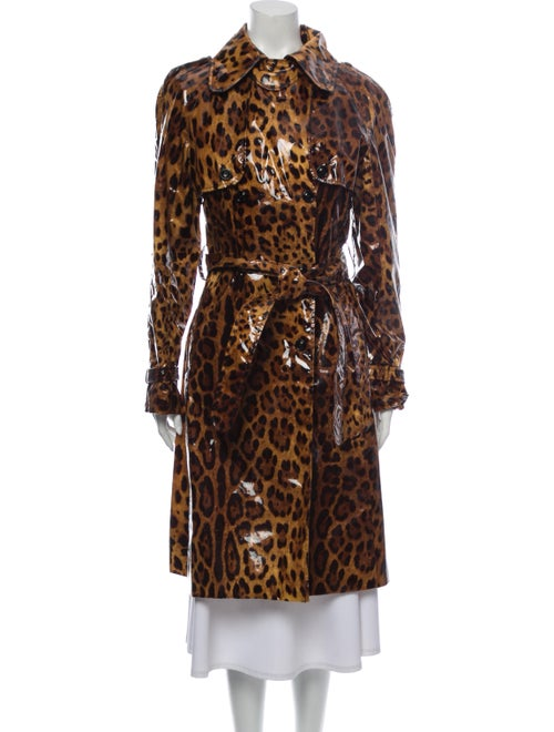 Dolce & Gabbana Silk Animal Print Trench Coat