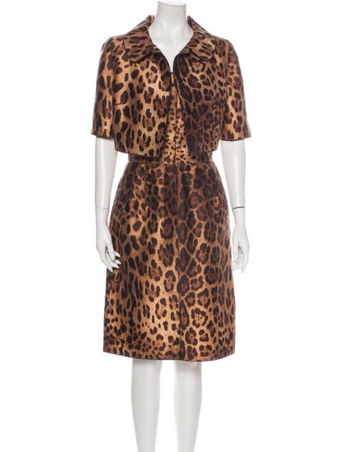 Dolce & Gabbana Silk Animal Print Dress Set Brown