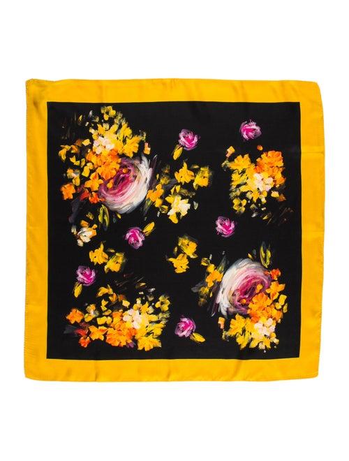 Dolce & Gabbana Silk Floral Scarf Black