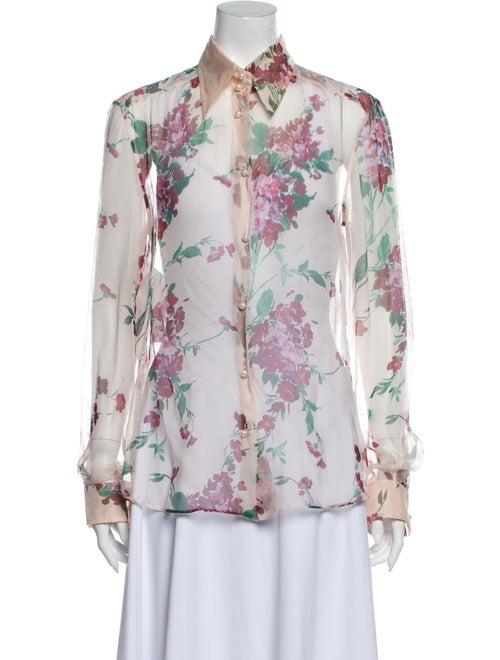 Dolce & Gabbana Silk Floral Print Button-Up Top Pi