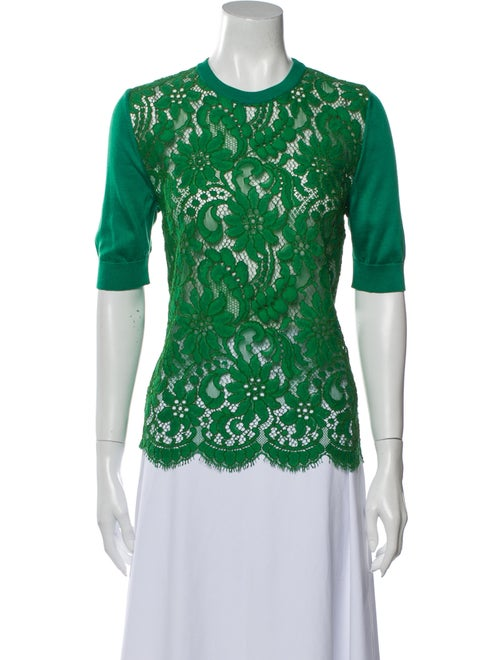 Dolce & Gabbana Silk Lace Pattern Top Green