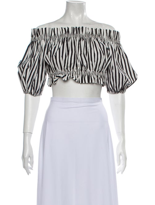 Dolce & Gabbana Striped Off-The-Shoulder Crop Top