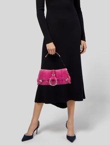 Dolce & Gabbana Leather-Trimmed Snakeskin Handle Bag