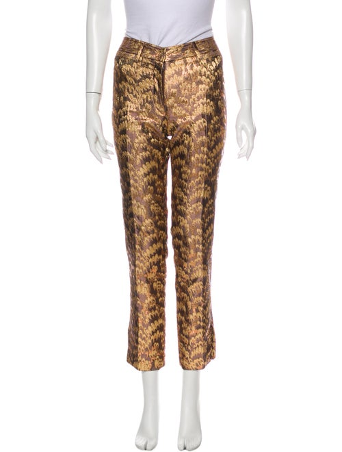 Dolce & Gabbana Printed Straight Leg Pants Gold