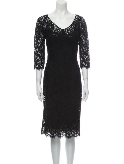 Dolce & Gabbana Lace Pattern Midi Length Dress Bla
