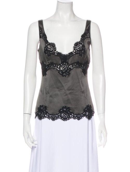 Dolce & Gabbana Lace Pattern V-Neck Top Grey