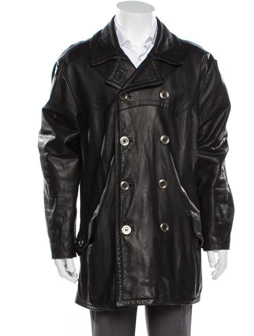 Dolce & Gabbana Leather Peacoat Black