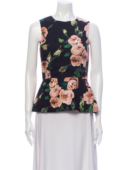 Dolce & Gabbana Silk Floral Print Blouse Black