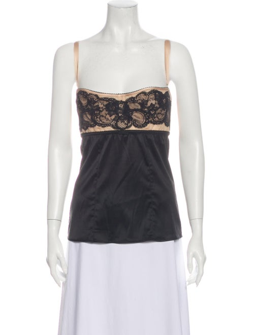 Dolce & Gabbana Silk Lace Pattern Top Black