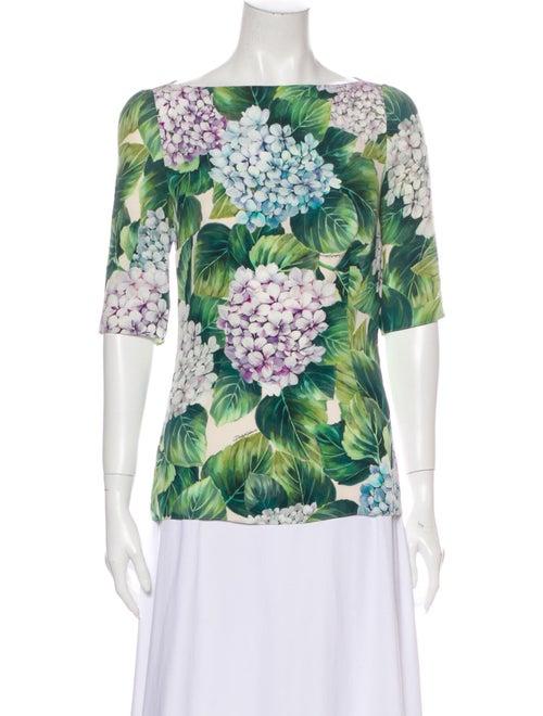 Dolce & Gabbana Silk Floral Print Blouse Green