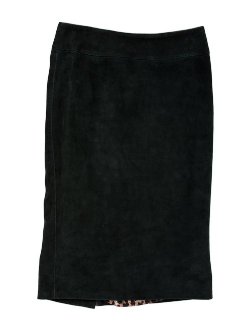 Dolce & Gabbana Leather Knee-Length Skirt Green