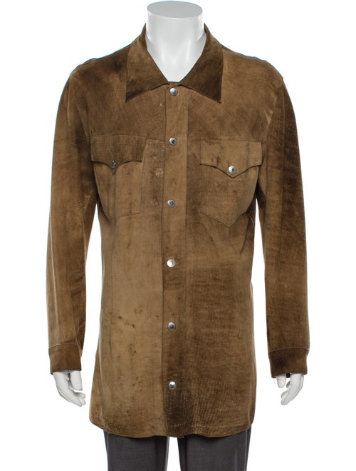 Dolce & Gabbana Leather Long Sleeve Shirt Brown - image 1