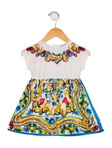 Dolce & Gabbana Girls' Floral Printed Short Sleeve Dress