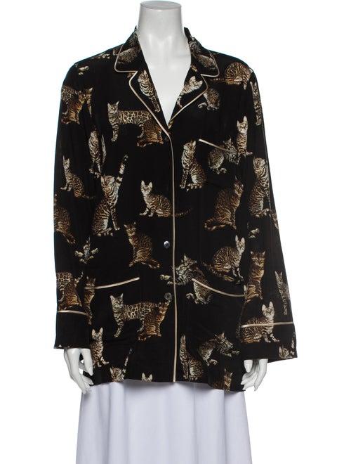 Dolce & Gabbana Silk Printed Pajamas Black