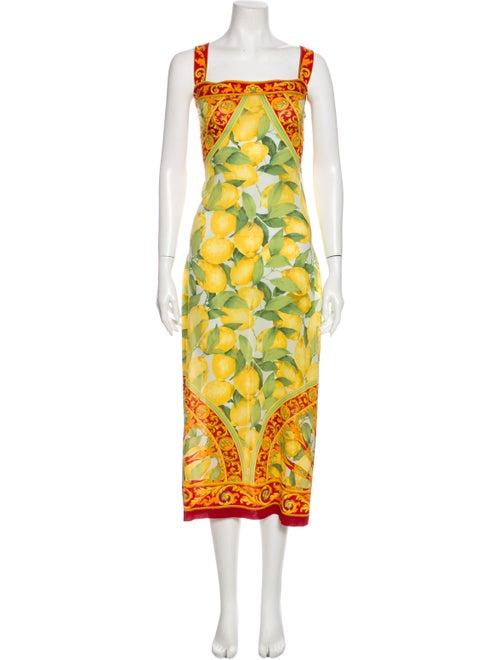 Dolce & Gabbana Printed Long Dress Yellow