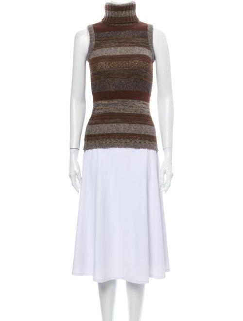 Dolce & Gabbana Striped Turtleneck Sweater Brown