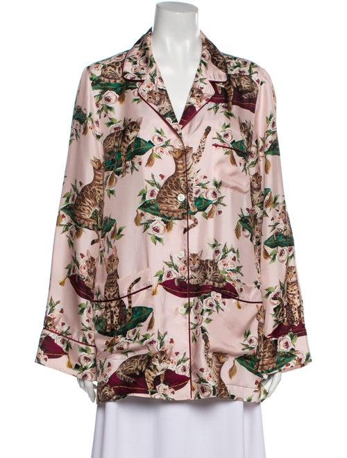 Dolce & Gabbana Silk Printed Pajamas Pink