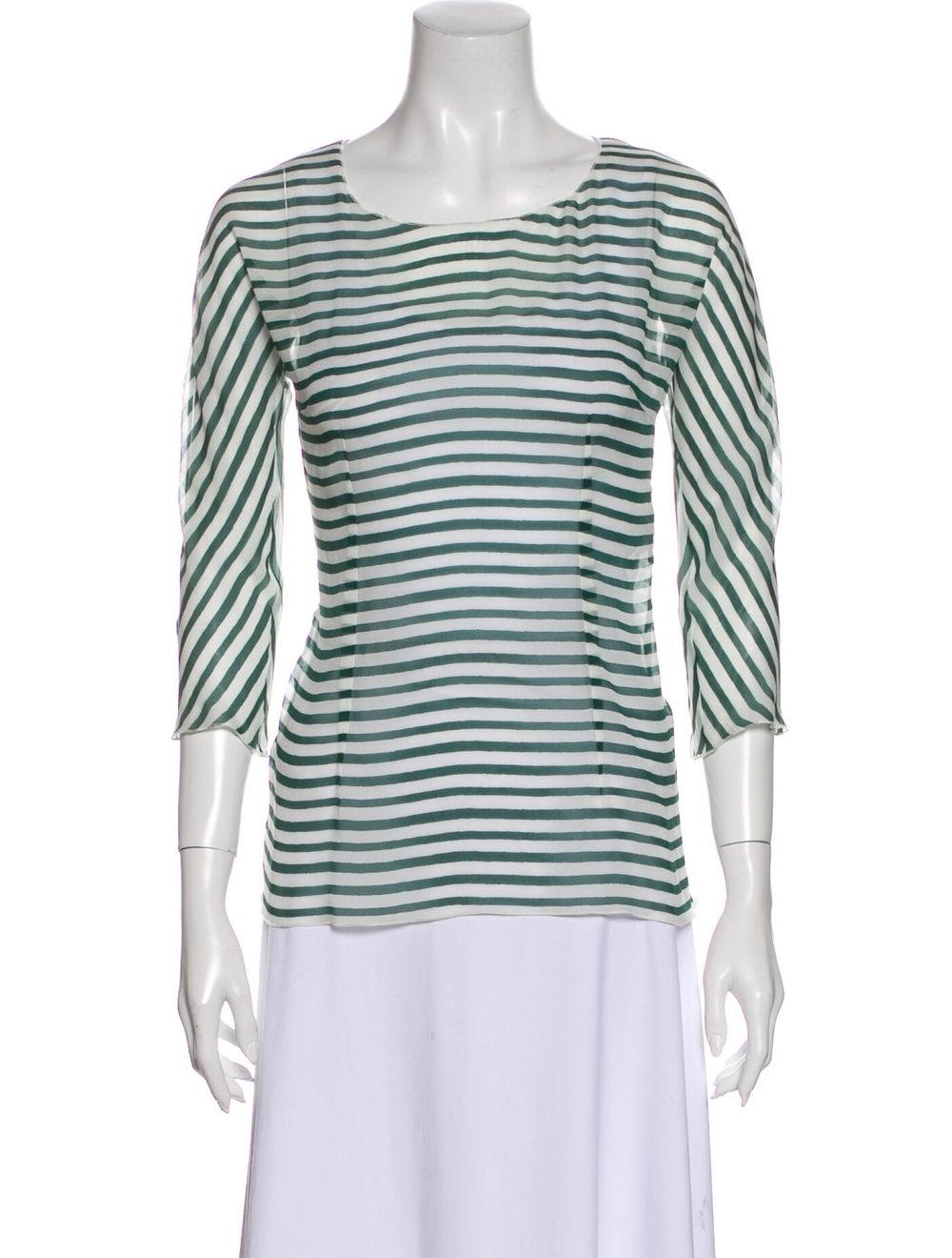 Dolce & Gabbana Silk Striped T-Shirt Green - image 1