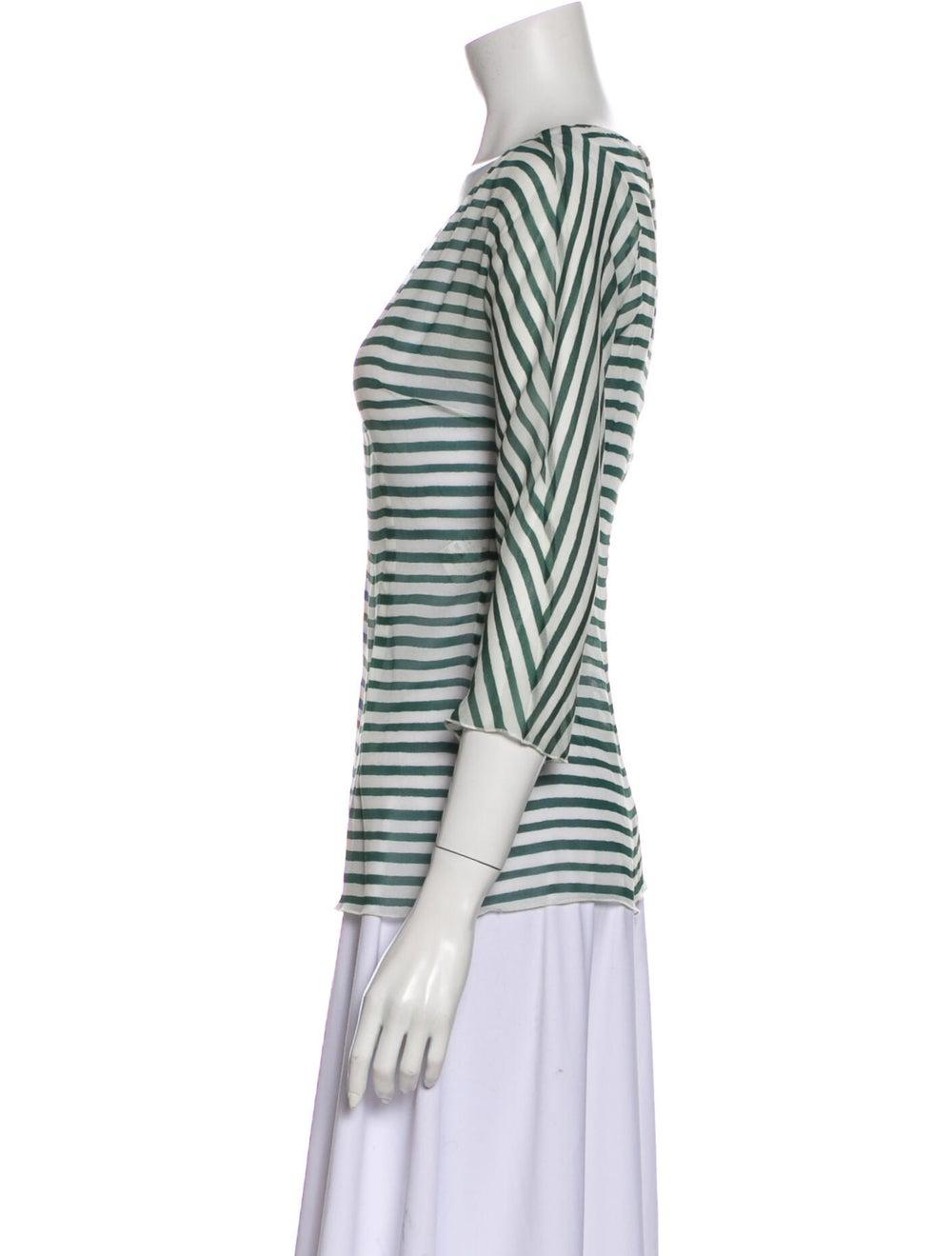 Dolce & Gabbana Silk Striped T-Shirt Green - image 2
