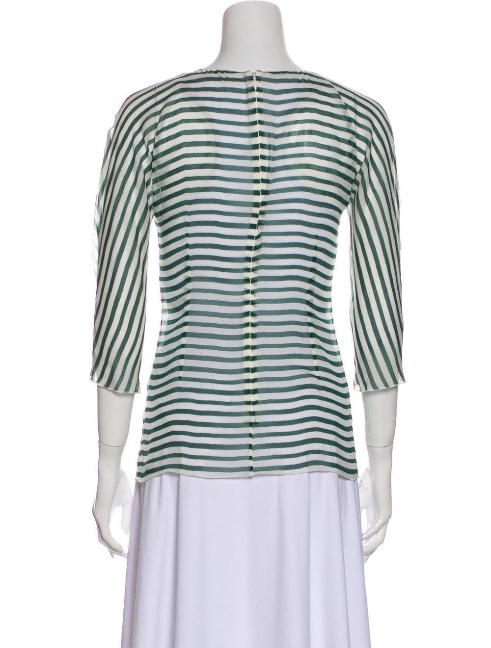 Dolce & Gabbana Silk Striped T-Shirt Green - image 3