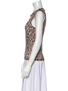 Dolce & Gabbana Animal Print Scoop Neck Top