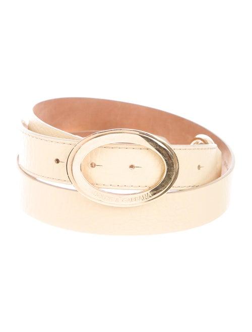 Dolce & Gabbana Skinny Leather Belt Yellow