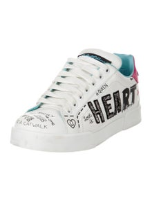 Dolce & Gabbana Leather Graphic Print Sneakers