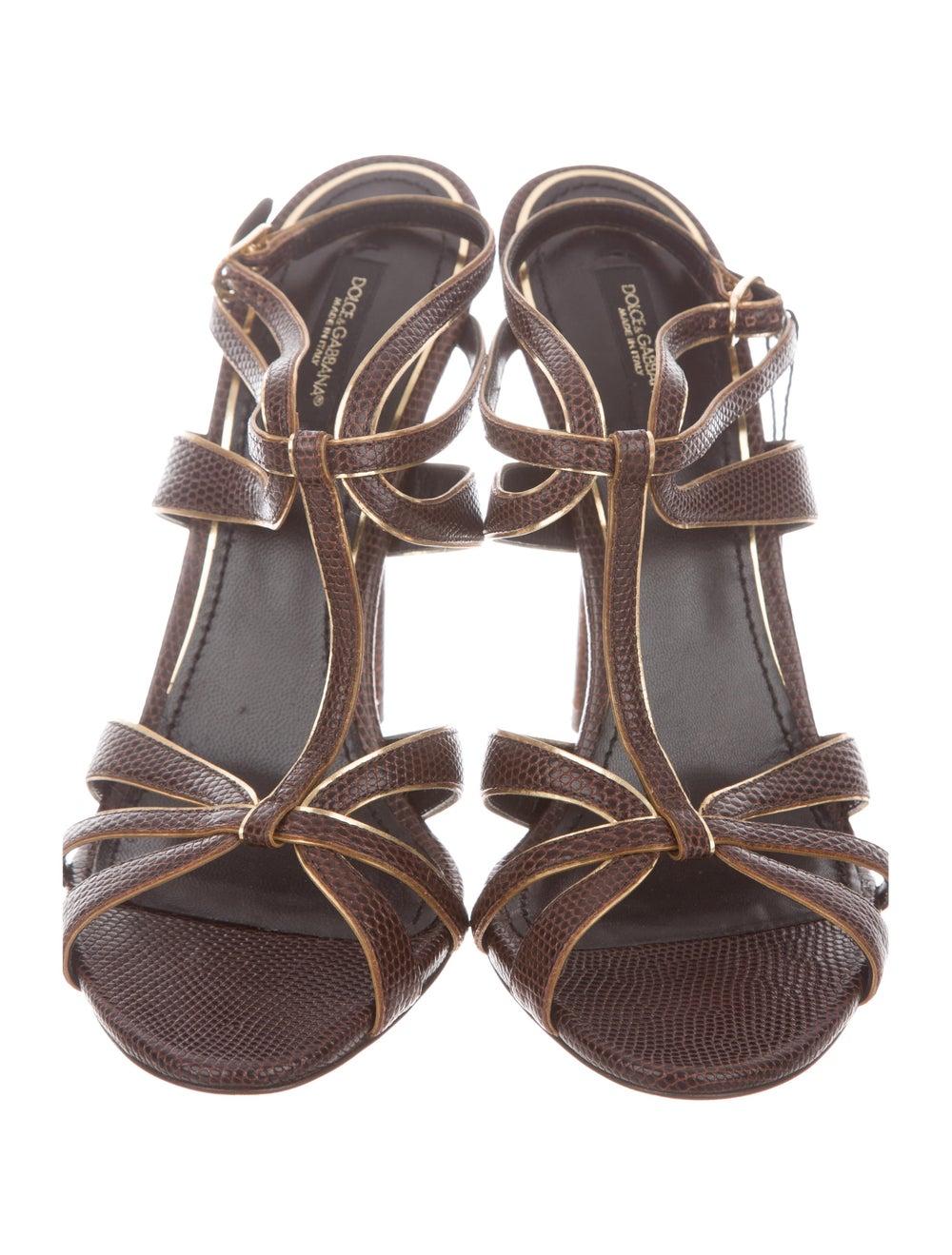 Dolce & Gabbana Lizard Strappy Sandals - image 3