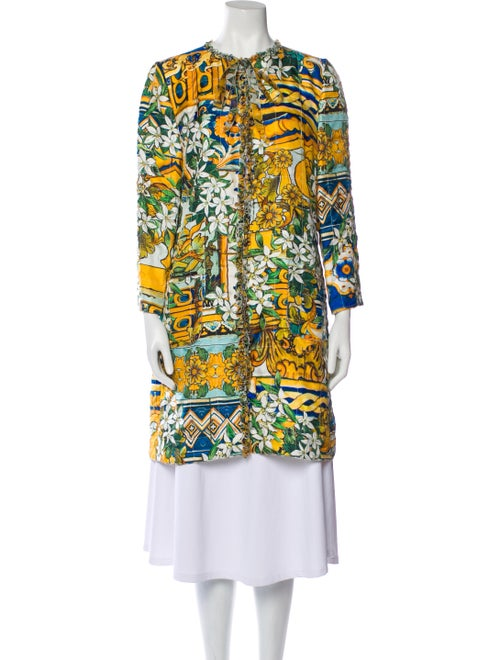 Dolce & Gabbana Silk Printed Robe Yellow - image 1