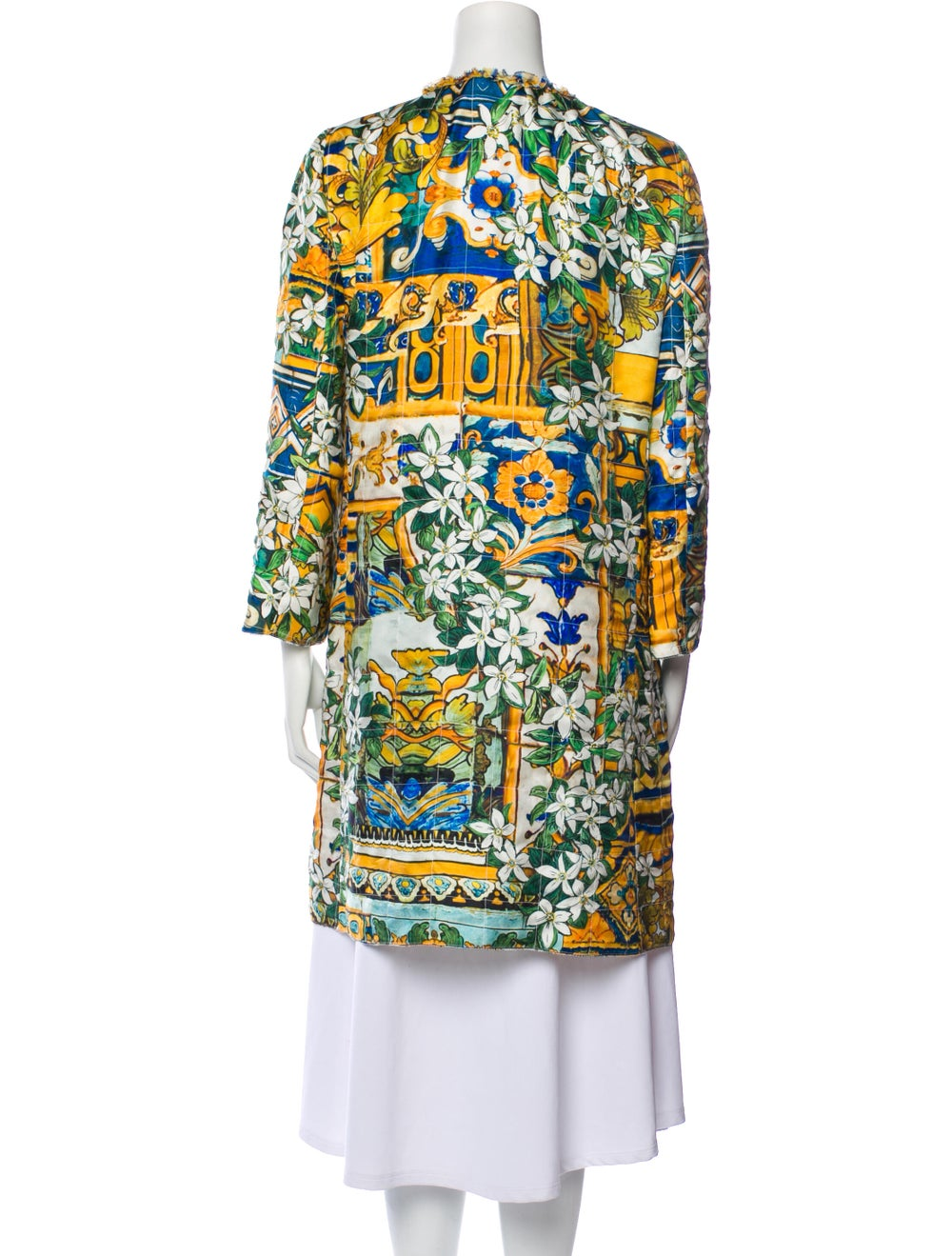 Dolce & Gabbana Silk Printed Robe Yellow - image 3