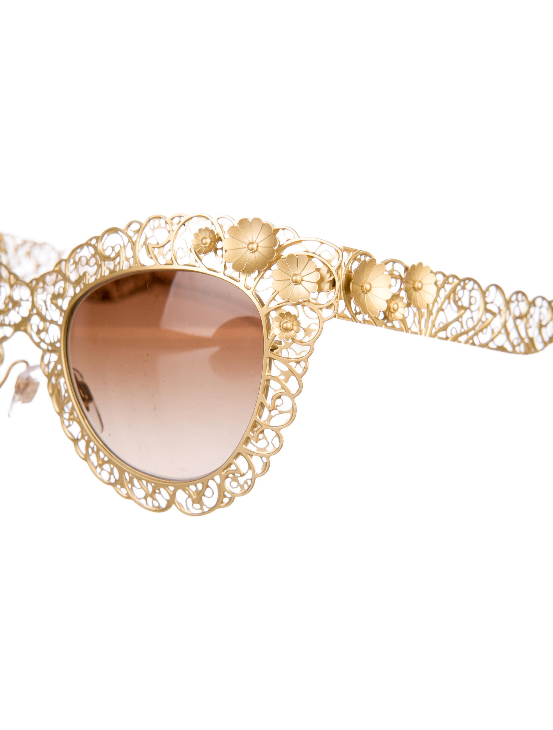 ffe03614095 Dolce   Gabbana Gold Filigrana Cat Eye Sunglasses Black