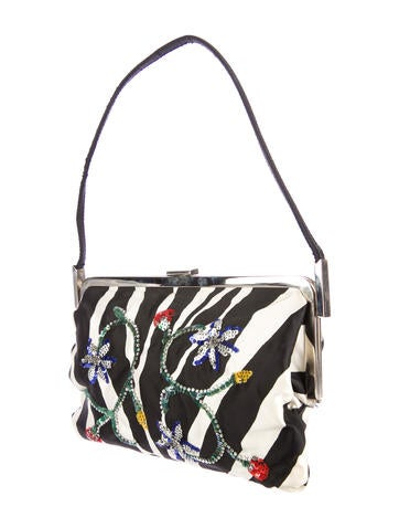 Zebra Print Canvas Shoulder Bag