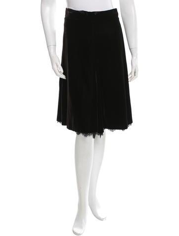 Dolce & Gabbana Lace-Trimmed Velvet Skirt None